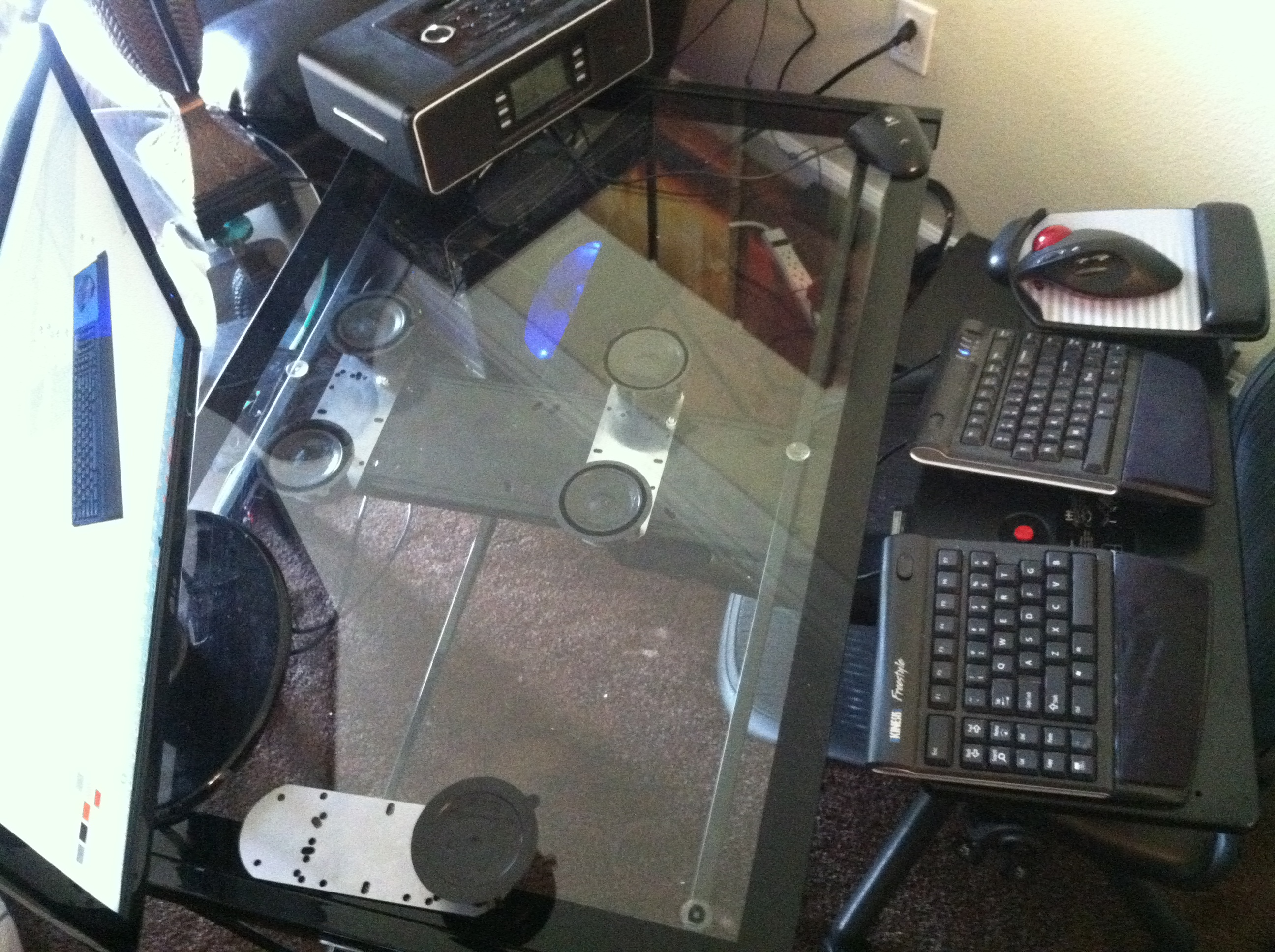 ... Glass Desk Suction Cup Mounted Keyboard Tray Brackets ...